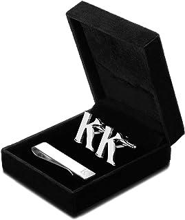 FIBO STEEL Personalized Initial Cufflinks Tie Clips Set for Men Gifts Custom Letter Wedding Cufflinks Case