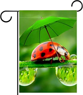 Ladybugs With Green Umbrella Home Garden Yard Flag - Double Sided Decorative Outdoor Flag - 12 x 18 in