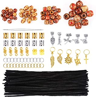 Pllieay 203 Pieces Dreadlocks Beads DIY Hair Braid Accessories Set with 100 Pieces 6 mm x 12 inch Black Pipe Cleaners
