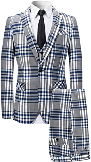 Mens 3 Piece Suit Check Plaid Slim fit One Button Formal Dress Blazer Jacket Tux Vest & Trousers