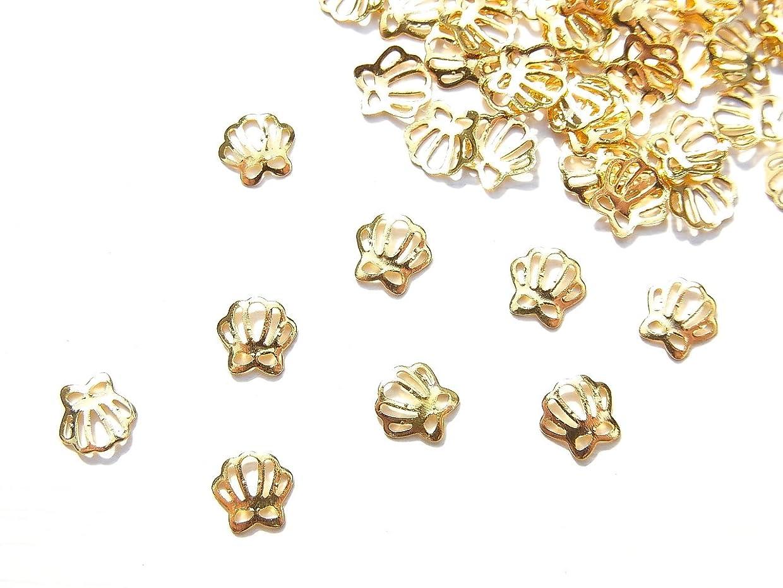 煙突適応的試してみる【jewel】薄型ネイルパーツ ゴールド シェル 貝殻 10個