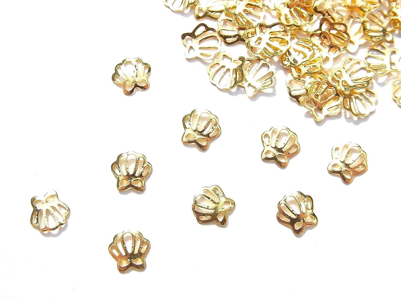 滑るチェス探す【jewel】薄型ネイルパーツ ゴールド シェル 貝殻 10個