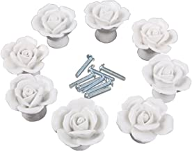 CSKB White Flower Rose Door Knobs + Screw Floral Vintage Ceramic Kitchen Pull Handle Knob Home Modern Style Cupboard Pulls Drawer Knobs and Handles