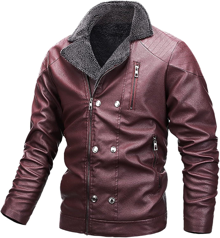 Leather Plus Fleece Jacket for Men Motorcycle Jacket Warm Leather Jacket Fashion Casual Windproof Coats