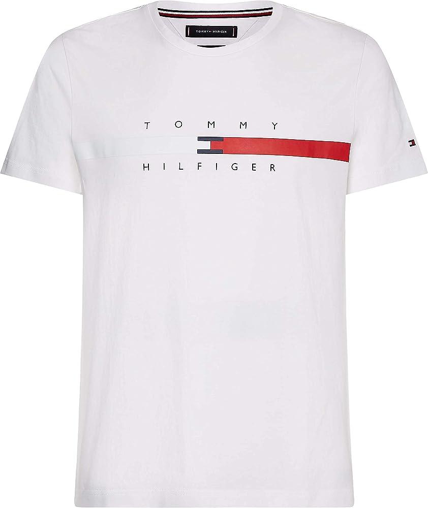 Tommy hilfiger global stripe chest tee t-shirt maglietta da uomo a maniche corte cotone biologico (100%) MW0MW16572