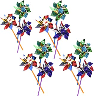 Kicko Colorful Metallic Pinwheels – Pack of 12 Windmills with Stick for Kids and Adults - Perfect Summer, Pool Decoration, Beach-Themed Birthdays, Handy Party Favors, Classic Gift Ideas
