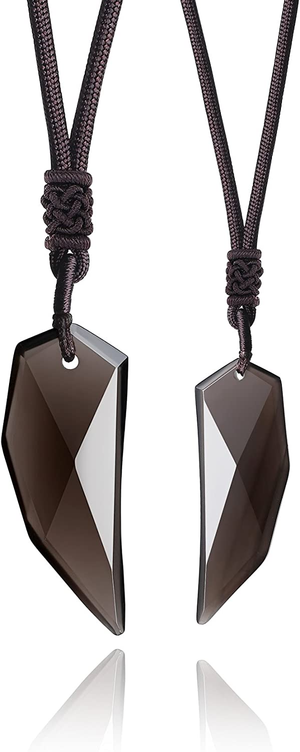 COAI Ice Obsidian Wolf Tooth Amulet Couple Necklaces His and Hers Jewelry