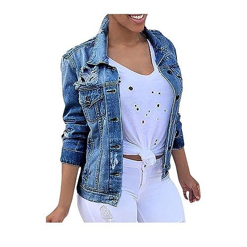 a5bf9faa0fb74 Minetom Women s Sring Autumn Casual Denim Vintage Light Wash Faded Ripped  Boyfriend Jacket Jeans Long Sleeve