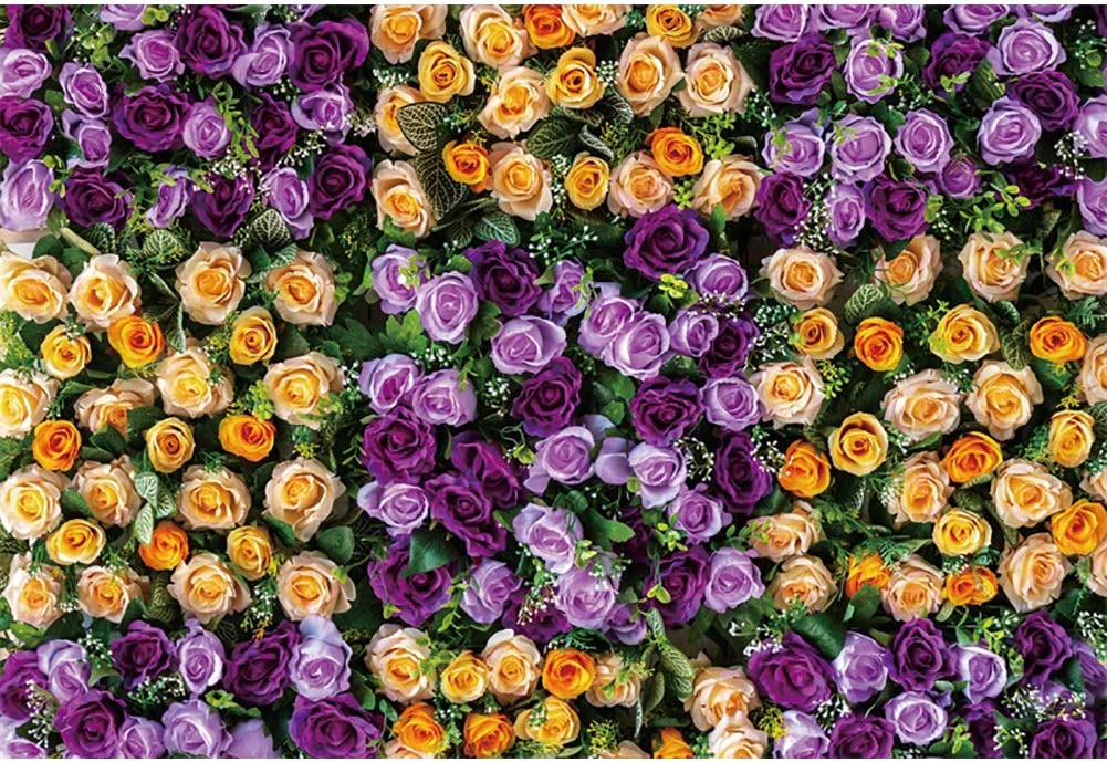 OERJU 12x10ft Wedding Backdrop Purple and Yellow Floral Background for Photography Bridal Shower Engagement Party Decorations Valentines Day Lover Proposal Portrait Photo Props Baby Shower Banner