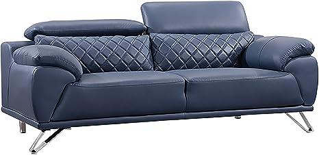 Amazon Com American Eagle Furniture Ek529 Ultra Modern Top Grain Italian Leather Living Room Sofa 83 Navy Blue Furniture Decor