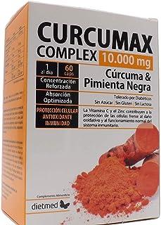 Dietmed CURCUMAX. Curcuma + Piperina (pimienta negra) /10.000 MG por capsulas / 95% Curcumina. 100% vegano.60 Cápsulas