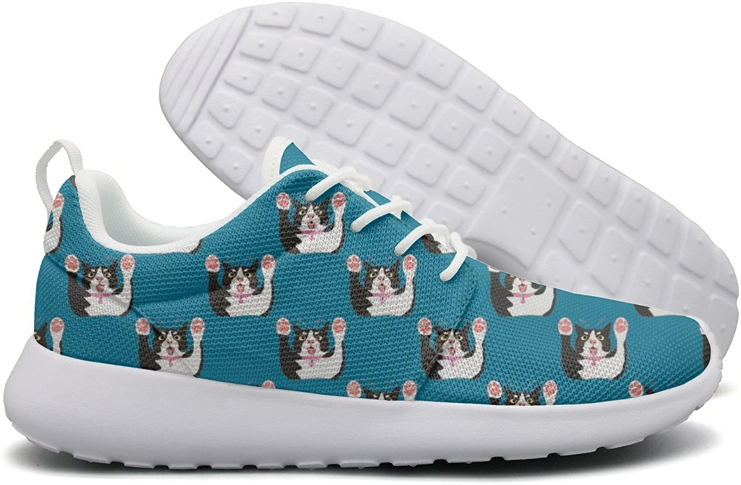 Hoohle Sports Cute Cat Want Hug bluee Background Womens Roshe One Flex Mesh Running shoes Men