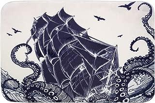 Nautical Memory Foam Bath Mat Octopus and Sailboat in a Storm Marine Elements with Wavy Ocean,Plush Bathroom Decor Rug Bath Floor Carpet Absorbent, Super Cozy Non Slip Machine Washable,16