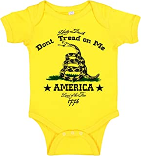 Don't Tread On Me Liberty or Death Military Themed Gadsden Flag Baby Bodysuit Romper Onesie