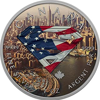 2016 CA BU Canada 5$ Superman 1 oz Colored New-York Precious Bullion 999 Silver Coin $5 Uncirculated BM