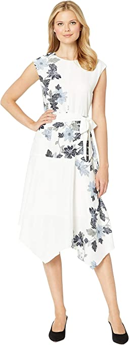 Extend Shoulder Floral Vines Belted Dress