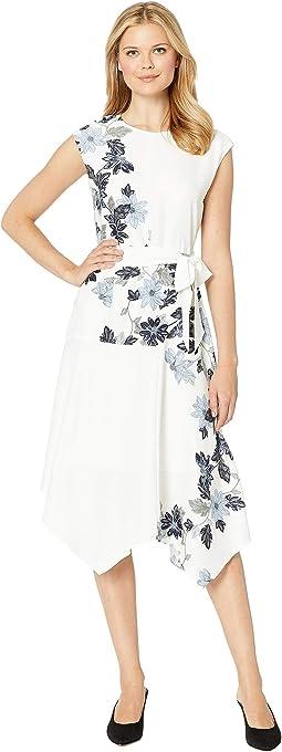 Extend Shoulder Floral Vines Belted Dress