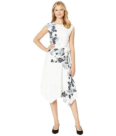 Vince Camuto Extend Shoulder Floral Vines Belted Dress (Pearl Ivory) Women
