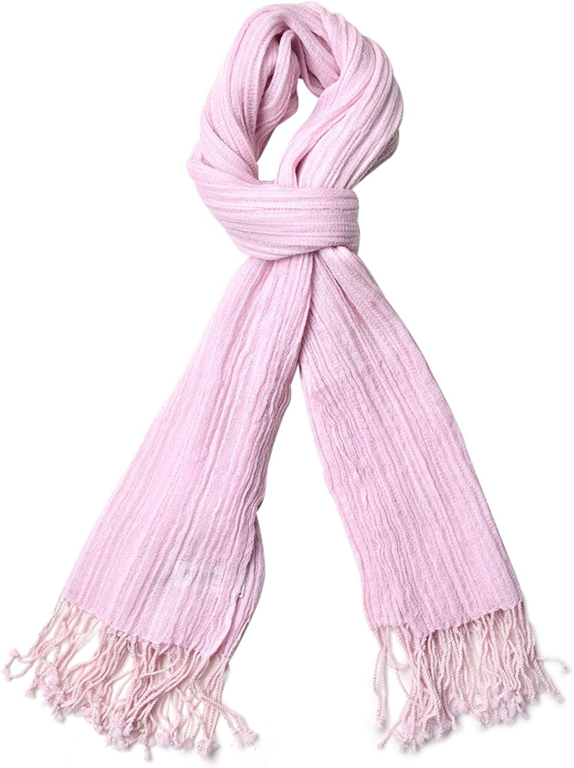 Purple Pink Pure Wool Scarfs For Women with Tassles