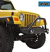EAG Black Steel Front Bumper with D-Ring Fit for 87-06 Jeep Wrangler TJ YJ