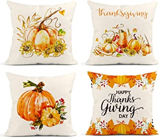 Britimes Throw Pillow Covers 18x18 Inches Fall Home Decor Set of 4 Pillow Cases Decorative for Sofa Cushion Couch Outdoor ...