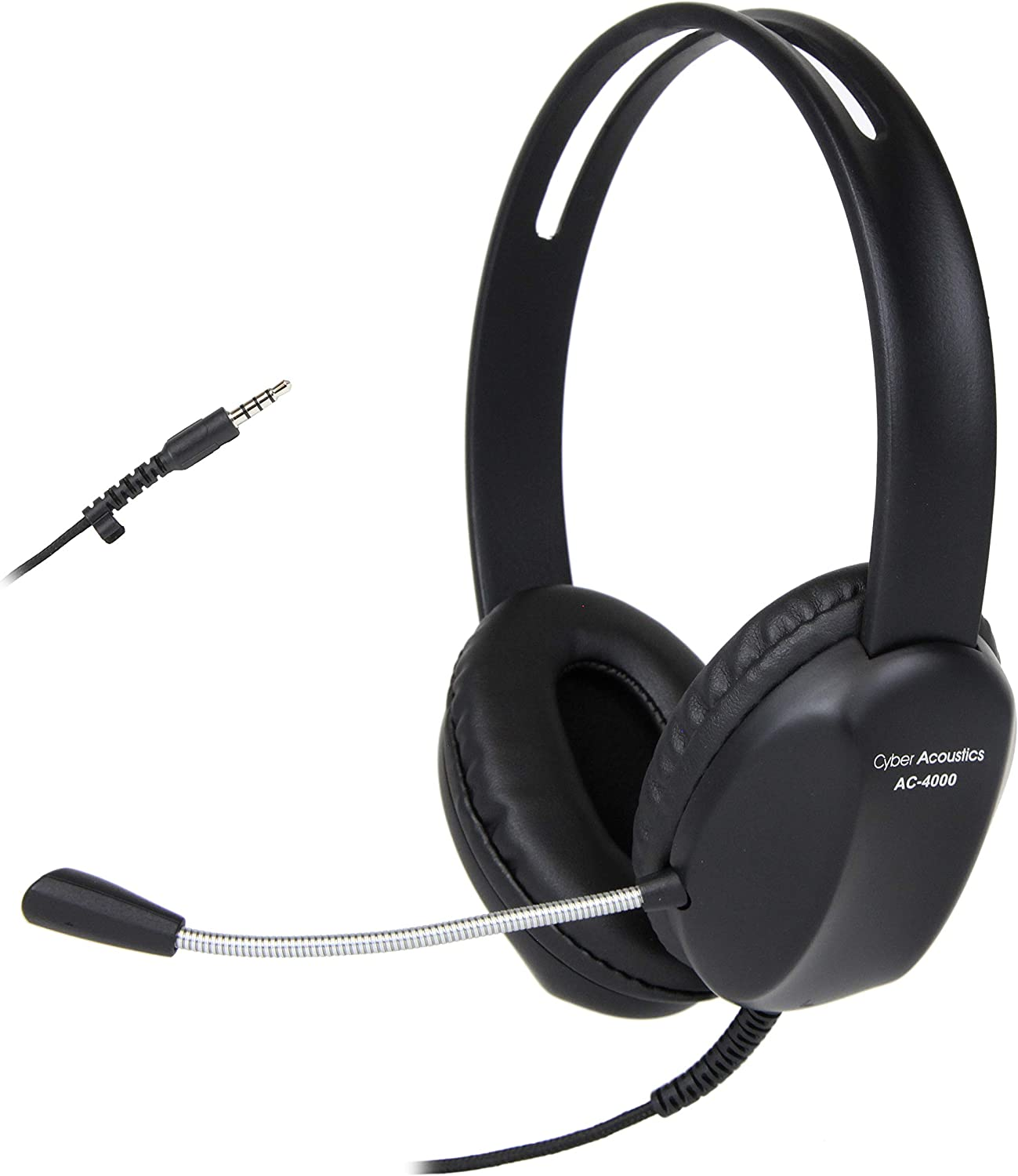 Cyber Acoustics 3.5mm Stereo Headset with Headphones and Noise Cancelling Microphone - 20 Pack - for PCs, Tablets, and Cell Phones in The Office, Classroom or Home (AC-4000-20)