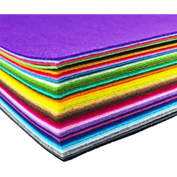 flic-flac 44PCS 8 x 12 inches (20 x 30cm) Assorted Color Felt Fabric Sheets Patchwork Sewing DIY Craft 1mm Thick … (20cm 30cm, 44pcs)