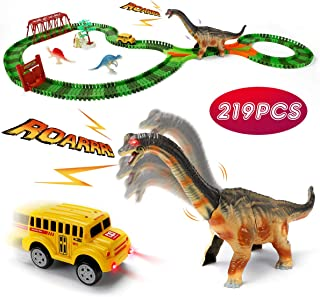 URTOYPIA Dinosaur Toys Race Car Track, 219PCS Dinosaur Race Track Play Set with Moving Head and Sound, DIY Flexible Dinosaur Train Christmas & Birthday Gift Toys for Boys Toddlers