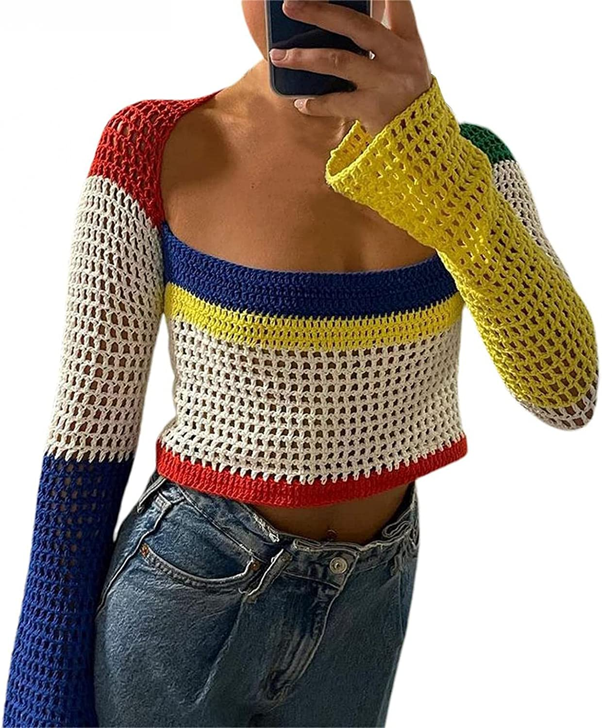 Hemlock Women Hollow Out Knit Crop Tops Square Neck Pullover Sweaters Color Block Short Blouse Fall Tunic Tops