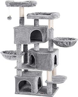 FEANDREA Árbol Grande para Gatos con 3 Cuevas para Gatos Torre para Gatos de 164 cm Gris Claro PCT98W