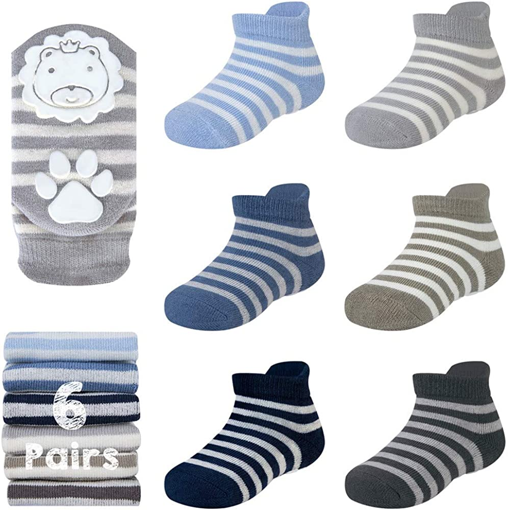 Ozaiic Baby Non Slip Grip Ankle Socks with Cushion for Newborn Toddler Boy Girl