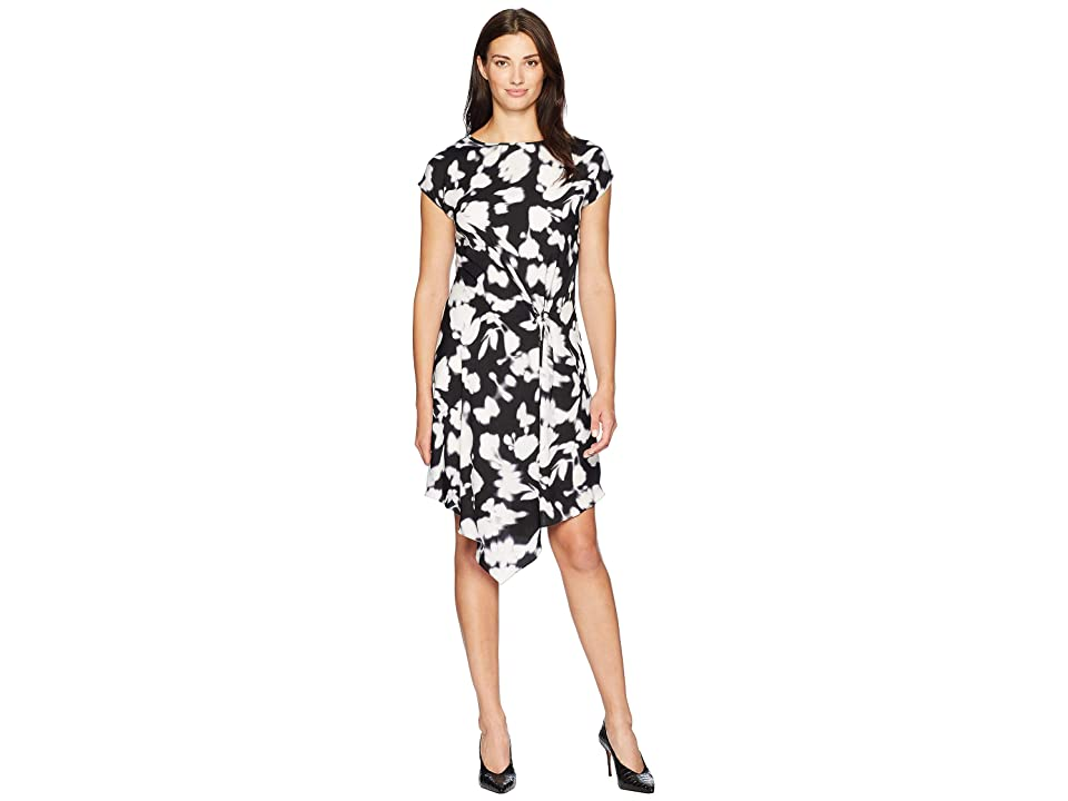 Kenneth Cole New York Gathered Front Detail Dress (Soft Focus Floral Black) Women