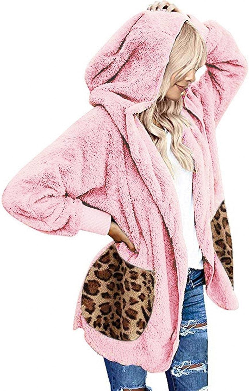 Womens Plus Size Winter Coat Casual Leopard Pockets Oversized Faux Fuzzy Hooded Outerwear Double-Sided Fleece Overcoat