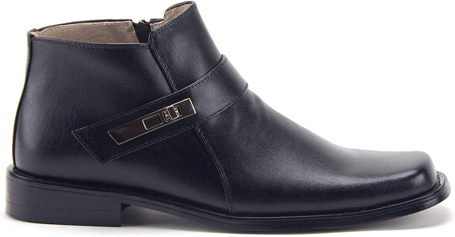 Jazame Mens Ankle High Square Toe Casual Chelsea Dress Boots