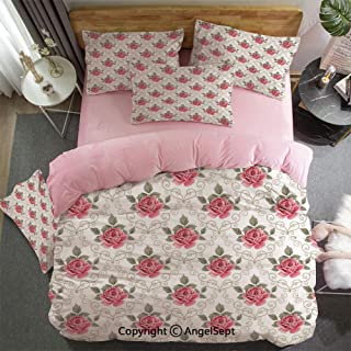 4 Piece Bed Sheets Set Romantic Shabby Chic Flowers Nature in A Frame with Leaves Roses Art Print Hypoallergenic, Easy to Care, Fade, Stain and Wrinkle Resistant, King Size Pink and Green