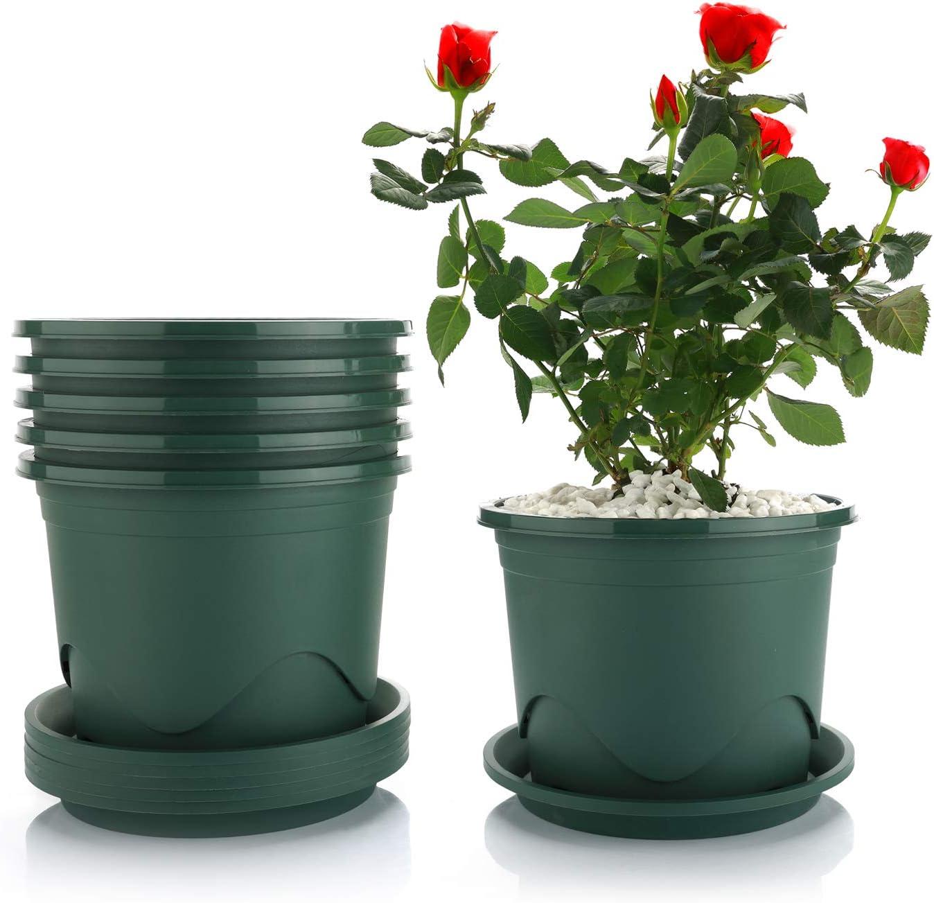 T4U 22CM Maceta de Plástico con Platillo Juego de 6, Maceta de Vivero de Control de Raíces Maceta de Jardín Decorativo Contenedor de Flores Verde para Plantas de Bonsai de Interior