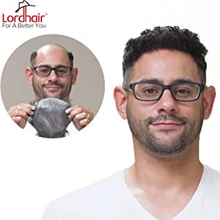 Lordhair Toupee With Human Hair Wigs For Men Hairstyle Variable Super Thin 0.03mm Ultra Thin Skin All V-looped Mens Hairpieces Color2 (6 Colors Available)