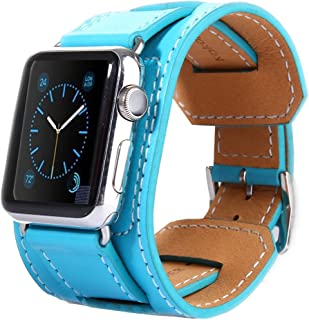 Wang for Apple Watch 42mm Bracelet Style Metal Buckle Cowhide Leather Watchband with Connector(Black) (Color : Blue)