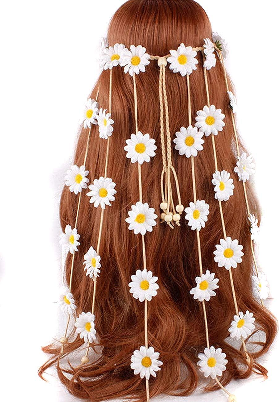 umsif Bohemian Hairband for Women Girls Sunflower Festival Headdress Indian Peacock Feather Feather Headband Tassel Hemp Rope
