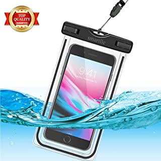 smartlle Universal Waterproof Phone Pouch, Large Phone Waterproof Case Underwater Dry Bag for iPhone X,Xs XR XS MAX, 8, 7, 6 Plus, SE,Galaxy S9+ S8+ S7 S6 LG with Case,Soft Pouch for All Home Button