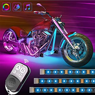 Govee 8PCS Motorcycle LED Lights Kits, DC 12-Volt Neon Lights with Remote Music Activated Waterproof RGB Multi-Color Lights, SMD 5050 LEDs Flexible Lights with 3M Adhesives Clips