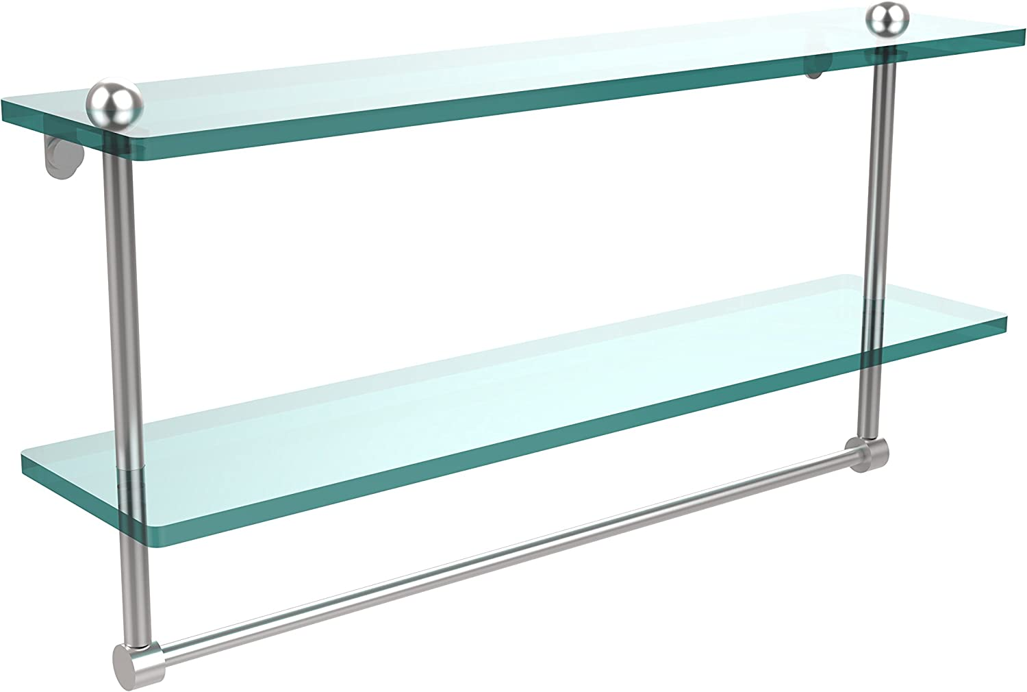 Allied Brass RC-2 22TB-SCH 22-Inch Double Glass Shelf with Towel Bar