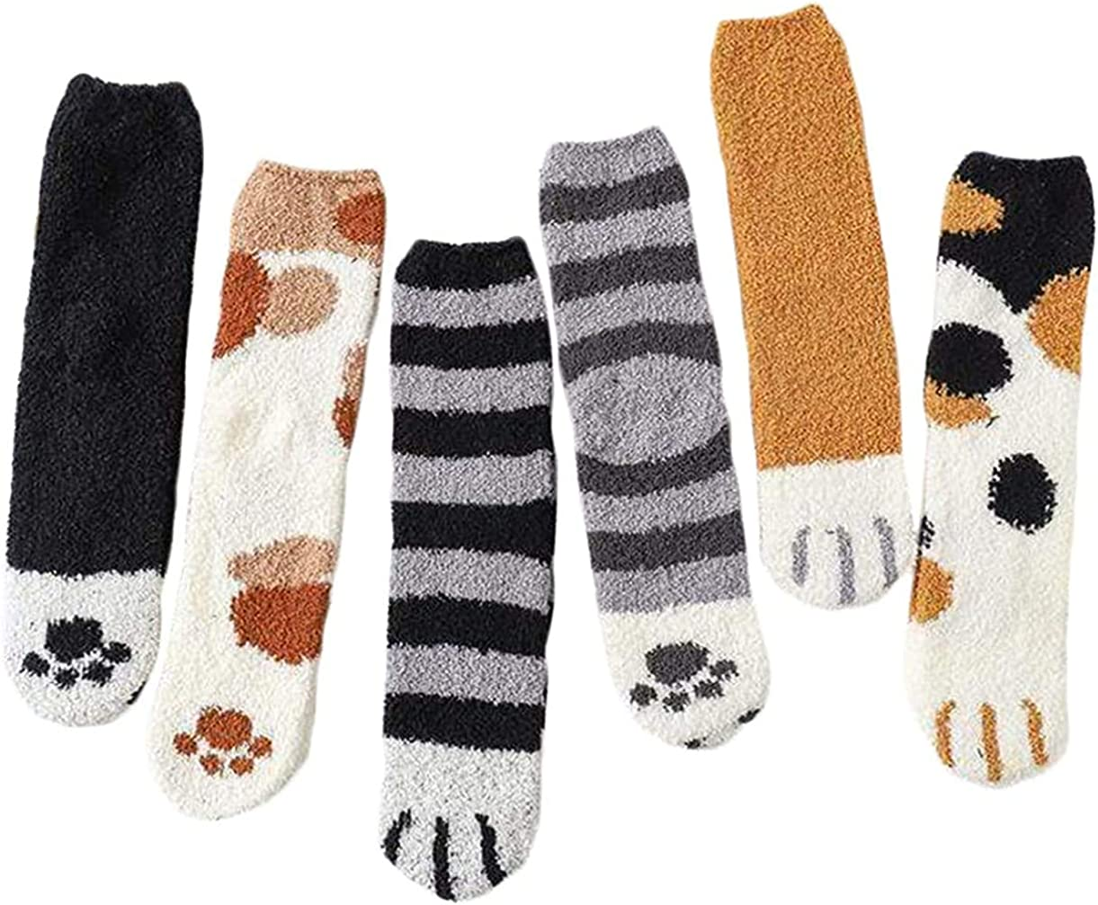 Women Winter Fluffy Fuzzy Warm Slipper Socks Cute Cat Paw Home Sleeping Animal Socks