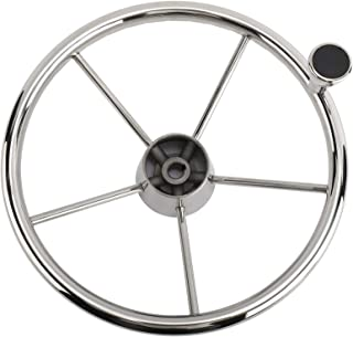 """Sponsored Ad - PetierWeit Boat Marine 5 Spoke Destroyer Steering Polished Stainless Steel Wheel with M Size Knob, 13-1/2"""""""