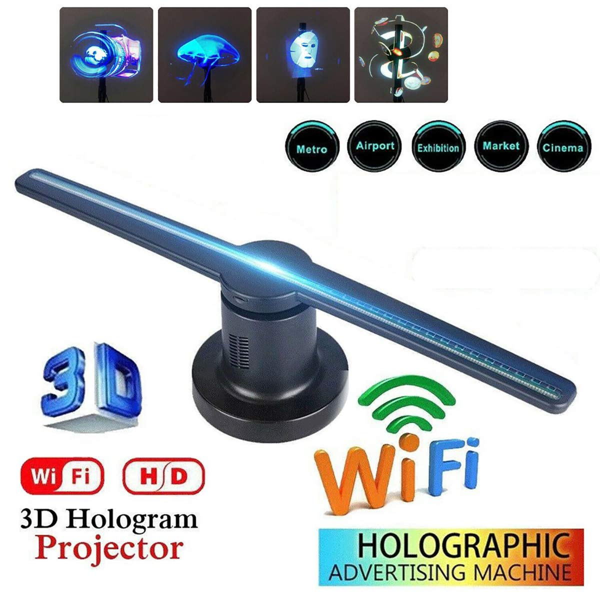 WXJHA 3D WiFi Holograma Publicidad Pantalla LED de los 42CM ...