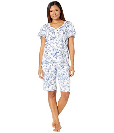 Karen Neuburger China Blue Henley Nightshirt (China Blue Floral) Women