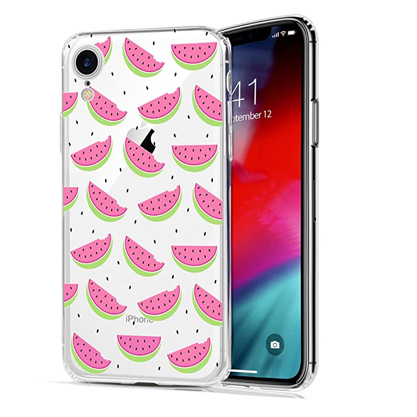 HUIYCUU Case Compatible with iPhone XR Case, Rose Pink Design Print Shockproof Soft Protective Back Cover Cute Floral Pattern Clear Novelty Bumper Case for iPhone Xr 9, Watermelon