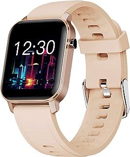 LTLGHY Smartwatch, Reloj Inteligente Impermeable IP68 para Hombre Mujer Niños Pulsera De Actividad Inteligente con 15 Modos De Deporte con Pulsómetro Blood Pressure Sueño Podómetro,Oro