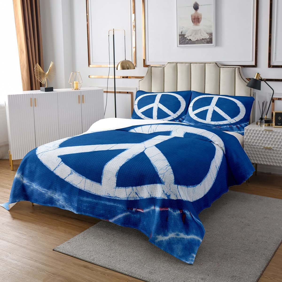 Tie Dye Coverlet White Love Overseas parallel import regular item and Piec 2 Note Classic Boho Peace Max 68% OFF