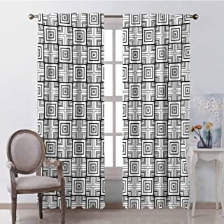 GUUVOR Black and White Wear-Resistant Color Curtain Geometrical Pattern with Overlapping Squares and Optical Illusion Effect Waterproof Fabric W42 x L84 Inch Black White